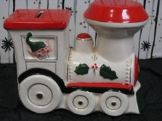 Vintage Elf and Santa Christmas Train Bank by scooterbugrevival, $24.00