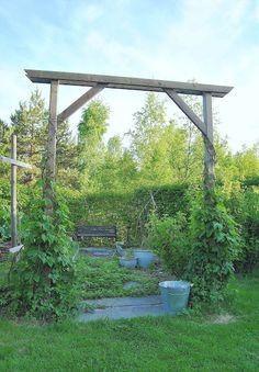 Förra våren byggde jag en ny portal vid ingången till grönsakshörnan. Den gamla billiga metall-rosenbågen hade rasat ihop, så jag tänkte a...