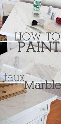 Faux Carrara Marble Painting Technique