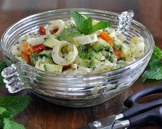 Avocado Salad with Hearts of Palm, vegan, paleo, Whole30, adaptable, delicious! Recipe, tips, nutrition, Weight Watchers points at @ AVeggieVenture.com.