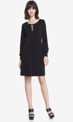 LONG SLEEVE TIE NECK KEYHOLE DRESS from EXPRESS