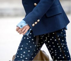 love polka dot jeans and not-to-mention, blue on blue on blue!