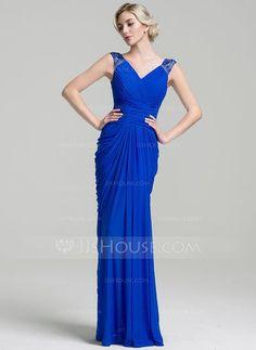 Trumpet/Mermaid V-neck Floor-Length Ruffle Beading Zipper Up Cap Straps Sleeveless No Royal Blue General Plus Jersey Mother of the Bride Dress