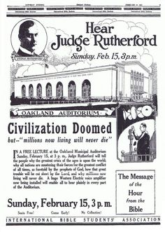 """Another Watchtower warning promo. The talk given by Rutherford focused on the imminent danger for anyone who was not a Jehovahs Witness, who was said to be """"doomed""""."""