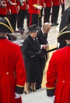 Watching Windsor:  Queen Elizabeth and the Duke of Edinburgh arrive  for the funeral of former British Prime Minister Margaret Thatcher, April 17, 2013