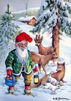 all pictures of gnome paintings Swedish Christmas, Old World Christmas, Christmas Scenes, Christmas Gnome, Vintage Christmas Cards, Scandinavian Christmas, Christmas Pictures, Kobold, Elves And Fairies