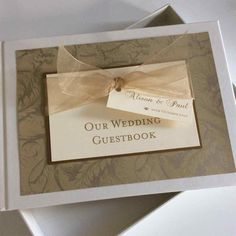 Wedding Guest Book with Ribbon and Tag by WeddingParaphernalia Wedding Bows, Our Wedding, Wedding Things, Stationery Design, Wedding Stationery, Personalized Wedding Guest Book, Wedding Guest Book Alternatives, Organza Ribbon, Luxury Wedding