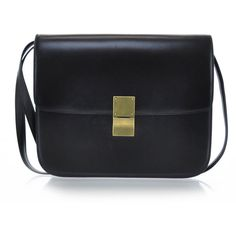 CELINE Leather Large Classic Box Bag Black ❤ liked on Polyvore