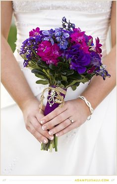 Bouquet with my grandparent's wedding bands tied around the stems! Flowers by Fresh Cut Catering & Floral Flower Ideas, Diy Flowers, Wedding Bouquets, Wedding Flowers, Wedding Bands, Our Wedding, Wedding Inspiration, Wedding Ideas, Bright Purple