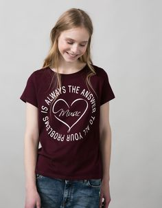 BSK text top - T- Shirts - Bershka United Kingdom
