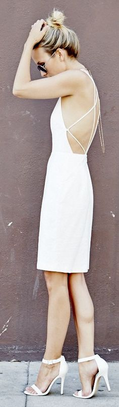 backless dresses, back open dress, white outfits, white dress, dress outfits, rehearsal dinner dresses, strap dress
