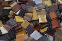 Amber / Autumn Mix Stained Glass Mosaic Tiles. Use coupon code PIN5 to save 5% off all of your stained glass mosaic tiles at Mosaic Tile Mania - the world's largest supplier of hand cut, stained glass mosaic tiles & supplies.