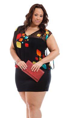Multi color square print chiffon blk dress - curvy girl fashion & in Curvy Plus Size, Plus Size Women, Curvy Girl Fashion, Plus Size Fashion, Fashion Fashion, Plus Size Dresses, Plus Size Outfits, Moda Xl, Plus Zise