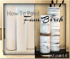 How To Paint Faux Birch - using craft paints on watercolor paper and then wrapped around any cylinder to create a birch look.