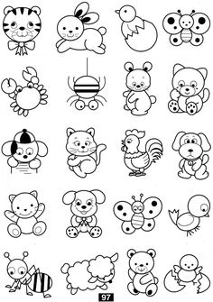 Cat Coloring Pages For Kids - Preschool and Kindergarten Art Drawings For Kids, Doodle Drawings, Drawing For Kids, Cartoon Drawings, Animal Drawings, Doodle Art, Easy Drawings, Art For Kids, Colouring Pages
