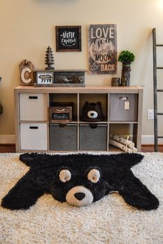 Nursery Bear Rug, Minky bear rug, Camping nursery decor by ClaraLoo on Etsy
