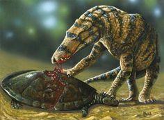 *Uberabasuchus terrificus Crocodylomorpha from the Bauru Basin (Upper Cretaceous), Brazil. Art by Ariel.