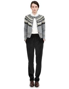 White shirt, knitted cardigan, pants and Oxfords - Margaret Howell