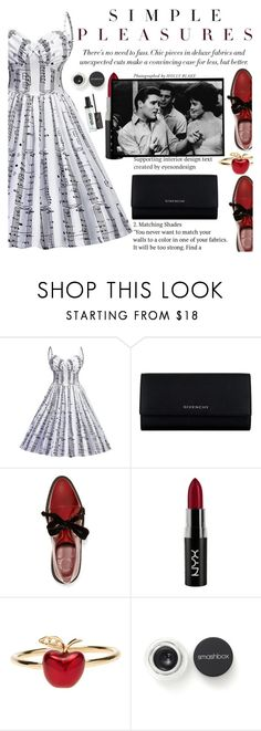 """""""That Big Dress and Bold Lips"""" by anarita11 ❤ liked on Polyvore featuring Givenchy, Marc by Marc Jacobs, NYX, Alison Lou, Smashbox and Too Faced Cosmetics"""