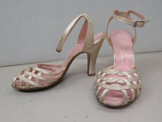 Pair of shoes worn to wedding Bonwit Teller. Museum Collection, Wedding Shoes, Pairs, Sandals, Heels, Vintage, Fashion, Bhs Wedding Shoes, Heel