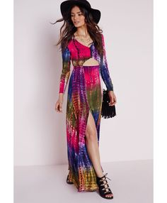 Crepe Cut Out Plunge Maxi Dress Nude/Blue Tie Dye - Dresses - Maxi Dresses - Missguided