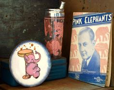 Pink Elephant Set: Vintage Alcohol DT by MerlesVintage on Etsy Copper Dishes, Old Quotes, Cocktail Glass, Pink Elephant, Piano Sheet Music, Cocktail Napkins, Elephants, Punch, Barware