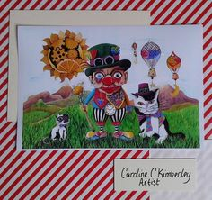 Time Travelling Clown with Cats digital reproduction Print  £9.00