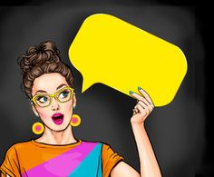 Amazed young sexy woman with open mouth looking up on empty yellow bubble.Pop Art girl is thought and holding message cloud. - Buy this stock illustration and explore similar illustrations at Adobe Stock Illustration Pop Art, Fond Design, Pop Art Women, Pop Art Wallpaper, Pop Art Girl, Comic Styles, Color Street Nails, Jolie Photo, Womens Glasses