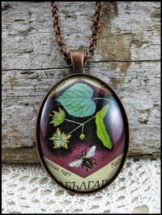 Postage Stamp Pendant / Little Bee / Bulgaria c. 1987 by OhThePost, $30.00