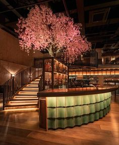 Cherry Blossom tree stands behind the curved bar with reclaimed teal roof tiles - Kym's restaurant in London designed by architecture and interior design practice Michaelis Boyd. Luxury Chinese restaurant design featuring over on the Martyn White Des Bar Interior Design, Restaurant Interior Design, Cafe Design, Japanese Interior Design, Resturant Interior, Modern Interior Design, Japanese Restaurant Design, Chinese Restaurant, City Of London