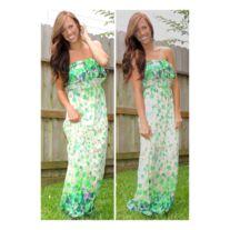 Ruffle print tube dress in green