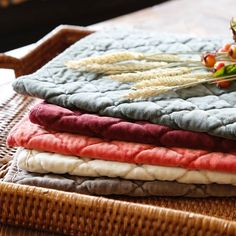 "soft quilted cotton with a slightly worn look. Available in a variety of colors.  Fabric: 100% cotton  Colors:   Beige Bordeaux Cayenne Red Hunter Green Navy Pure White Walnut  Size: 19""W x 13""H  Pom Pom at Home embraces the essence of life's enjoyment. Its products evoke a sense of romantic glamour, peaceful memories, gentleness and freshness. Whether it is Pom Pom at Home's fine linens, accessories or fragrances, all are made with the highest quality and attention to detail, alw"