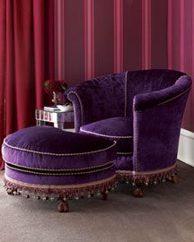 Purple velvet chair with fringe-- yum. Very boho chic, which I love love love. I'll take two please.