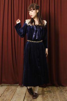 Navy×Beige エレガントlace&ゴブラン襟装飾ガウンワンピース