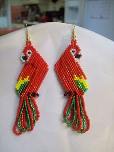 Beautiful Native American Beaded Red Yellow and Green Macaw Parrot Earrings Southwestern, Boho, Hippie Parrot Lover Earrings Great Gift