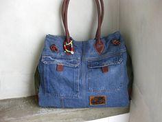 Denim Tote Bag, Hobo Bag, Denim Side Bag, Recycled Jeans Handbag, Denim Shoulder Bag, Vintage Denim Bag, Denim Leather Bag, Blue Jean Purse by avivaschwarz on Etsy https://www.etsy.com/listing/519894830/denim-tote-bag-hobo-bag-denim-side-bag