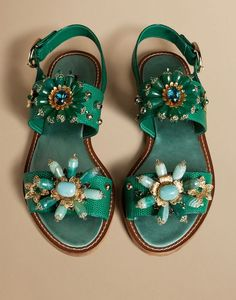 FLAT SANDAL IN IGUANA PRINT LEATHER WITH STONES | Dolce&Gabbana