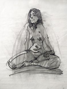 Compressed charcoal on newsprint, 1's, 2, 5, 10, and 15 minute drawings.