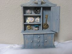 wooden hutch by Busybeeskreations on Etsy.  Dollhouse Miniature Furniture.