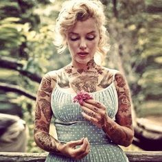 Mariln Monroe These Zany Photos Re-Imagine Classic Hollywood Icons... With Tattoos Bust.com  Cheyenne Randall