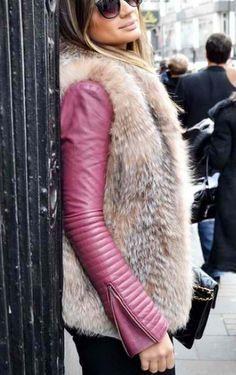 Leather + fur.