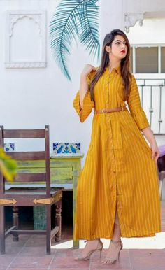 On Booking Buy mustard nx bells & belts designer long straight checks kurtis catalog wholesale rate at Wholesale Price. Simple Kurti Designs, Kurta Designs Women, New Kurti Designs, Stylish Dresses, Women's Fashion Dresses, Maxi Dresses, Maxi Outfits, Stylish Tops, Long Dresses