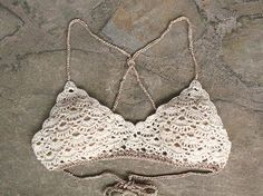 Crochet top Lace bra Crochet bikini top Vintage Crochet by MarryG