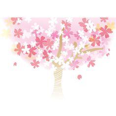 桜_春の背景イラスト(大きな桜の木)