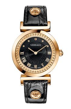 Versace Vanity Leather Strap Watch, 35mm available at #Nordstrom