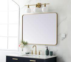 Gold Mirror Bathroom, Gold Vanity Mirror, Brass Mirror, White Mirror, Master Bathroom, Rectangular Bathroom Mirror, Hall Bathroom, Bathroom Inspo, Bathroom Ideas