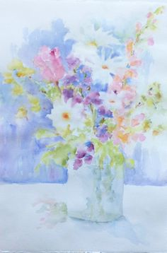 Snap Dragon Bouquet Original Watercolor Painting of by PatChoffrut, $250.00