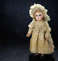 Gorgeous Antique French Bisque Bebe E.J. by Jumeau with Splendid Eyes in Original Dress 5500/7500 .'
