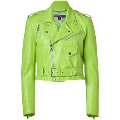 Ralph Lauren Collection - Lime Green Glove Leather Jacket ($1,605) ❤ liked on Polyvore featuring outerwear, jackets, green, coats, leather jackets, women, genuine leather jacket, green moto jacket, biker jacket and leather jacket