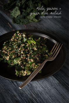 Kale quinoa green olive salad recipe healthy sugar free vegan